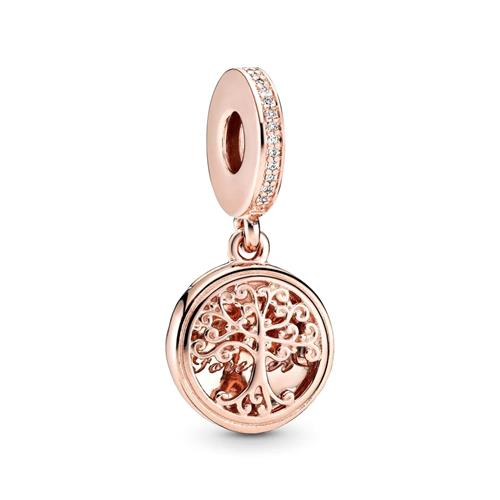 Charm Pendant Family Roots Rose With Zirconia