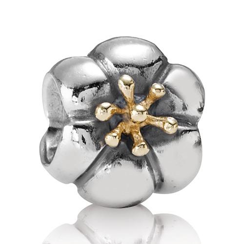 Silber Charm mit 14k Gold Blume