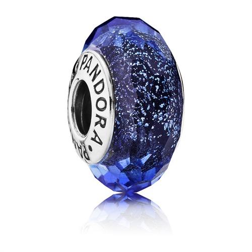 Charm dunkelblau facettiert Glaskristall