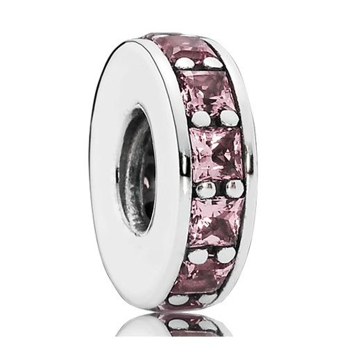 Spacer 925er Silber rosa Kristalle