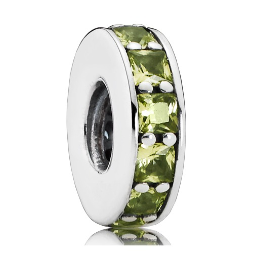 Olivgrüner Spacer Kristall Silber