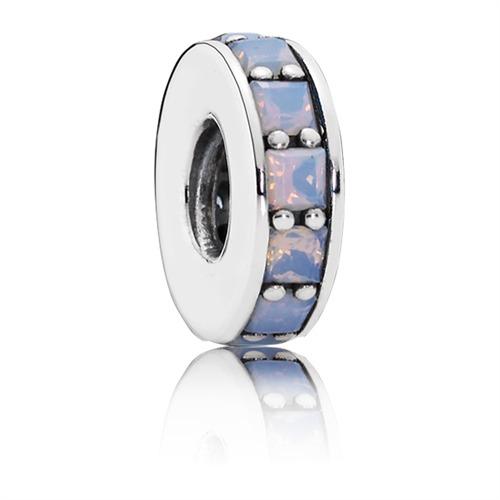 Spacer Pandora opalartiger weißer Kristall 7917...
