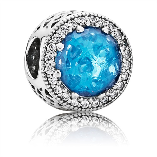 Charm blauer Kristall klare Zirkonia