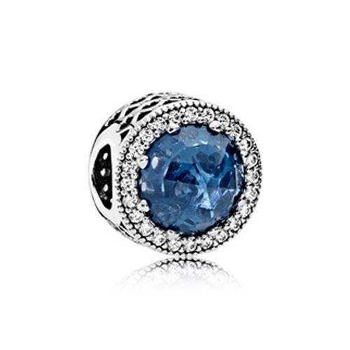 925er Silber-Bead mit dunkelblauem Stein