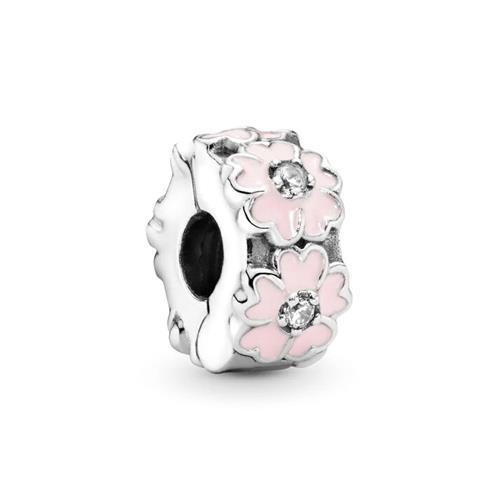 rosa Blumen Spacer in 925er Silber