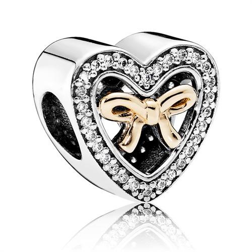 Herz Charm Silber mit 14K Gold