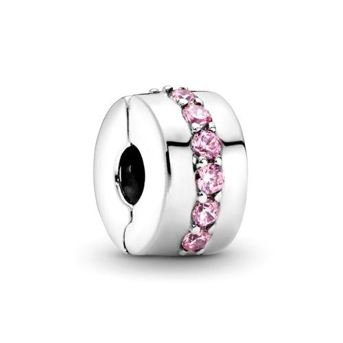 Clip Charm 925er Silber rosa Zirkonia