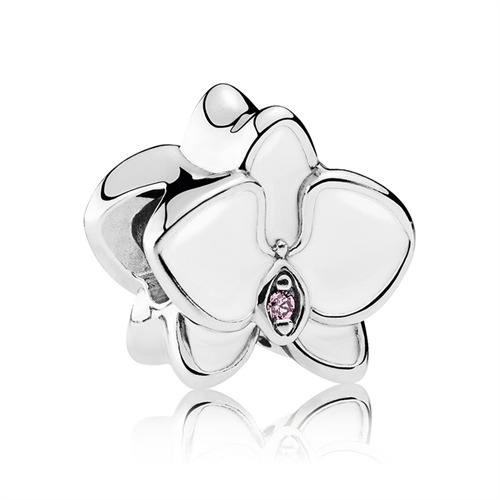 Bead Orchidee 925er Silber Emaille