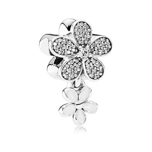 925er Silber Charm Blumen Zirkonia