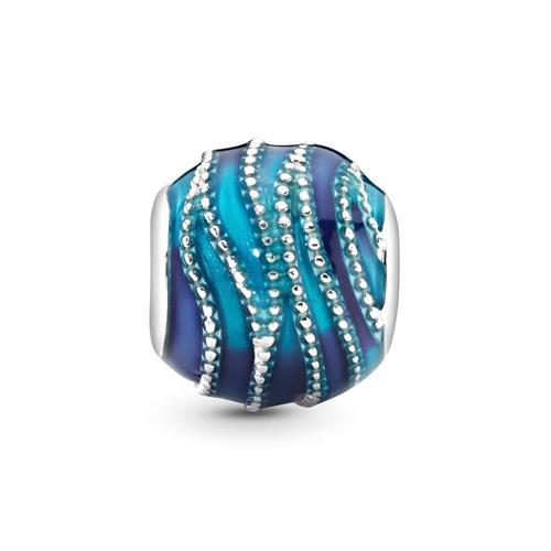 Blue Swirls Bead Sterlingsilber