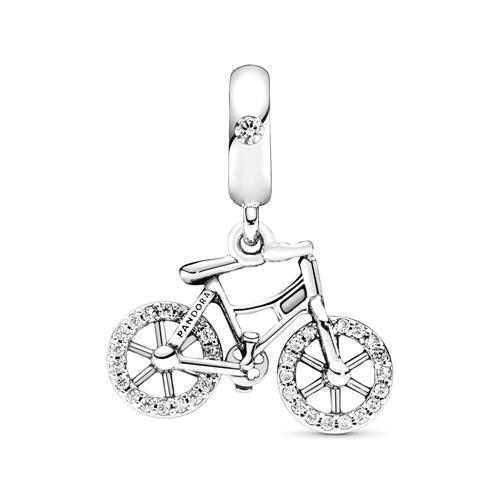 Dangle Fahrrad aus 925er Silber mit Zirkonia