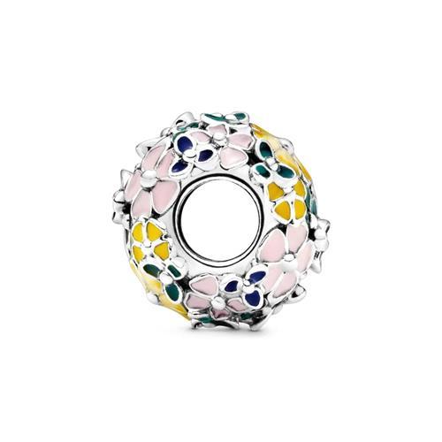 Charm Blumen aus 925er Silber und Emaille