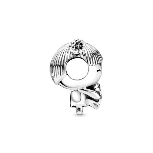 Charm Girl with Pigtails aus Sterlingsilber