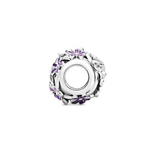 Blumen Charm aus 925er Silber mit Emaille