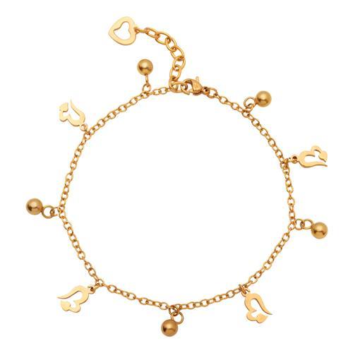 Vorschaubild von Vergoldete Fußkette aus Edelstahl mit Herzen A5001