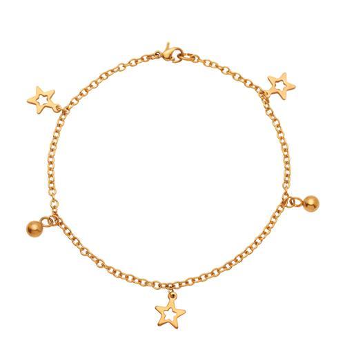 Vorschaubild von Vergoldete Fußkette aus Edelstahl mit Sternen A5005