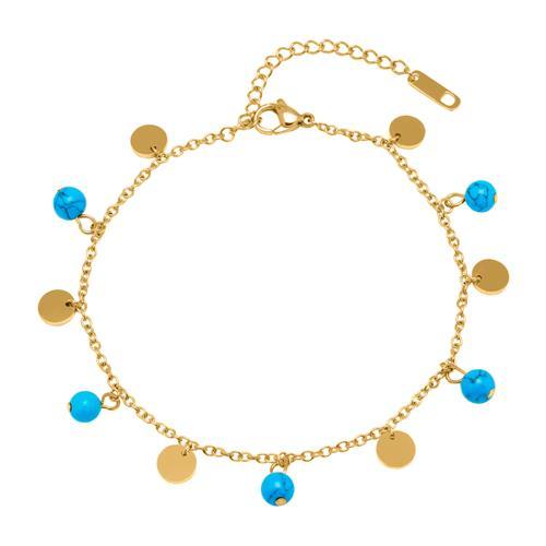 Fußkette Edelstahl vergoldet türkise Perlen