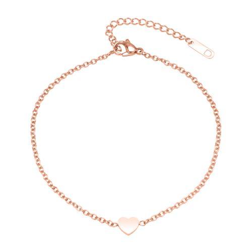 Fußkette Herz aus rosévergoldetem Edelstahl