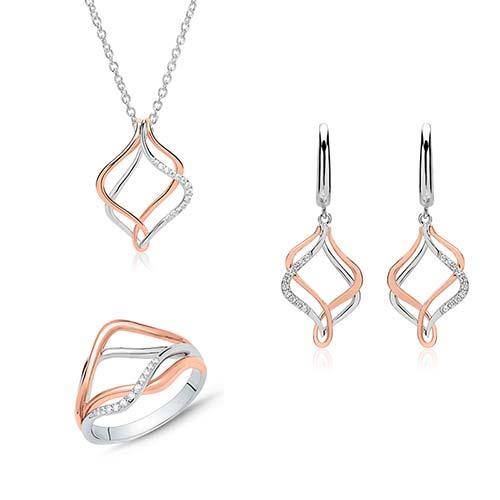 Schmucksets - Kette, Ohrringe und Ring aus 925er Silber mit Zirkonia  - Onlineshop The Jeweller