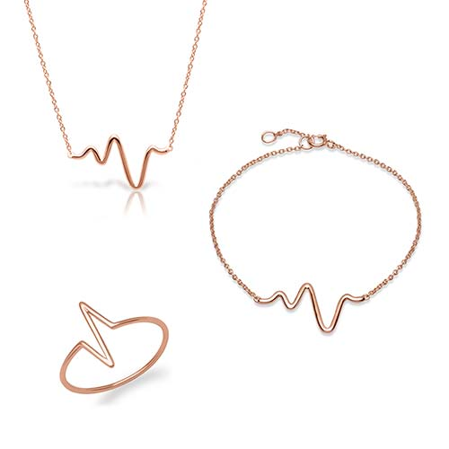 Set Heartbeat aus rosévergoldetem 925er Silber