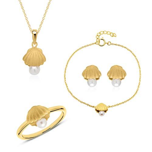 Schmucksets - Schmuckset Muscheln aus vergoldetem 925er Silber Perlen  - Onlineshop The Jeweller
