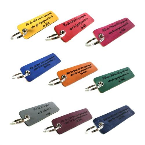 Farbiger Schlüsselanhänger Leder mit Gravur