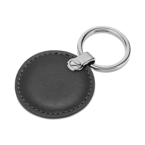Gravierbarer Schlüsselanhänger Leder Schwarz