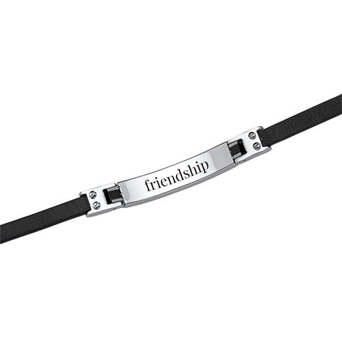 Armband Leder Edelstahlplatte
