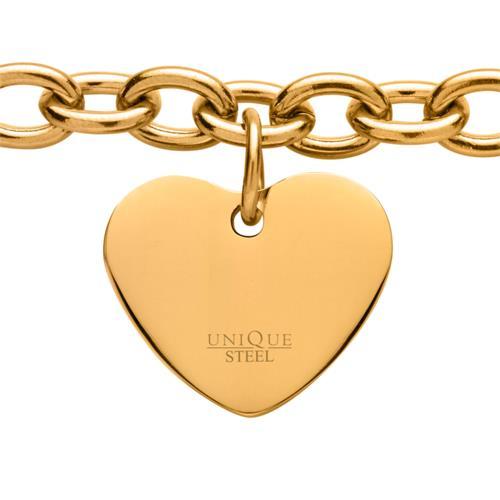 Gelbvergoldetes Edelstahlarmband mit Herz