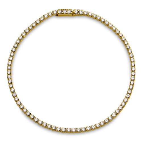 Goldenes Edelstahl-Armband mit Zirkonia einreihig