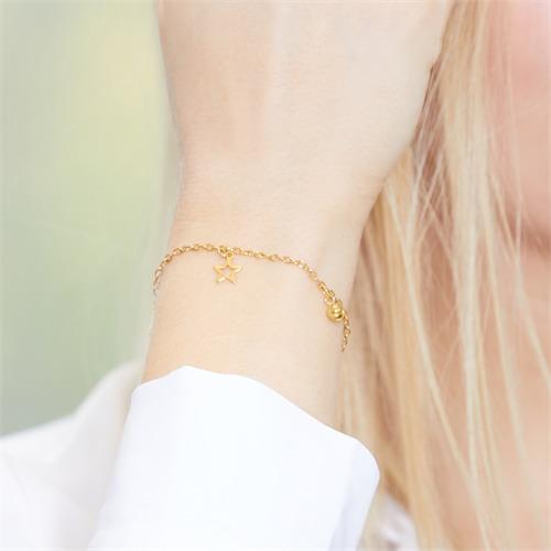 Armband Sternanhänger Edelstahl vergoldet