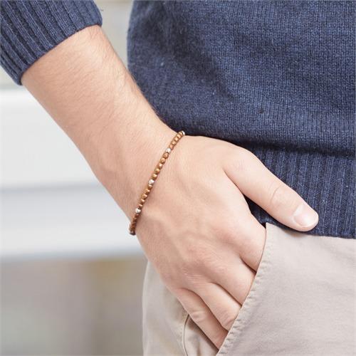 Armband aus Edelstahl und braunem Ironstone