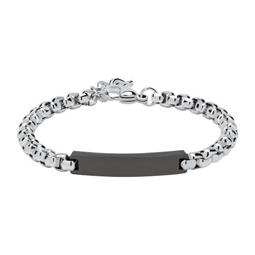 Gravierbares Armband aus Edelstahl teilgeschwärzt