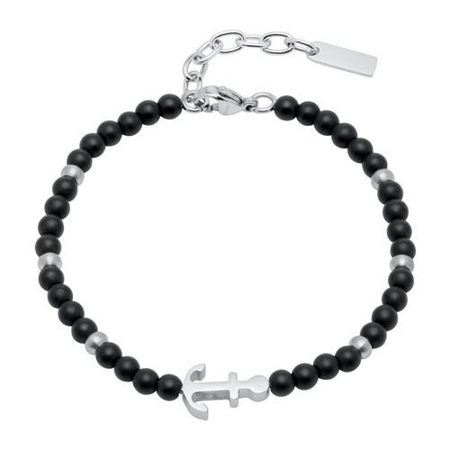 Armband Anker aus Edelstahl und Onyx