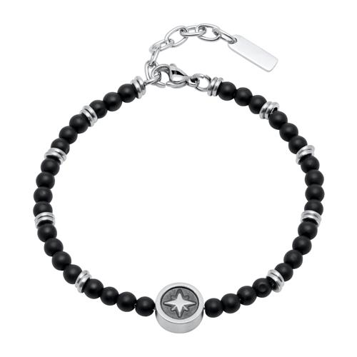 Stainless Steel And Onyx Compass Bracelet