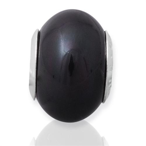 Schwarzer Bead mit 925 Silber Fassung