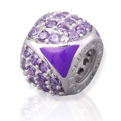 Moderner Silberbead: 925 Silber Bead Zirkonia B...