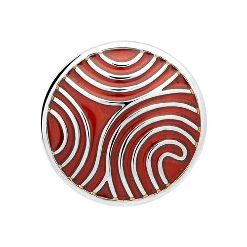 Button Emaille rot-silbernes Muster BT0006