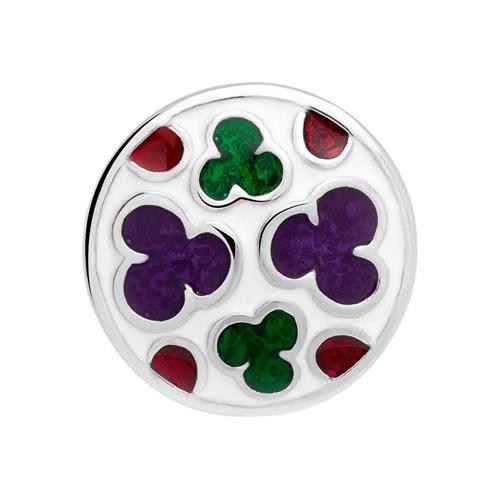 Button Emaille lila grün rote Wolken