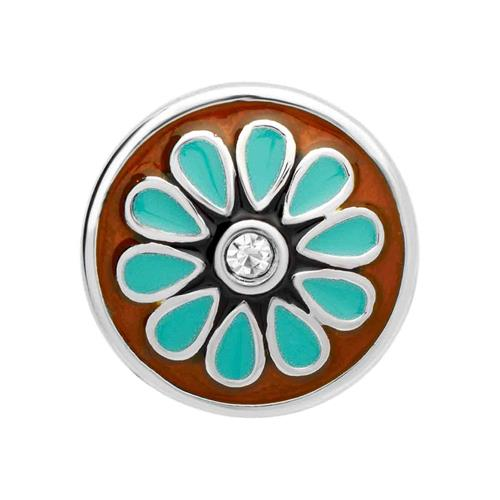 Button Emaille Blumenmuster Zirkonia BT0027
