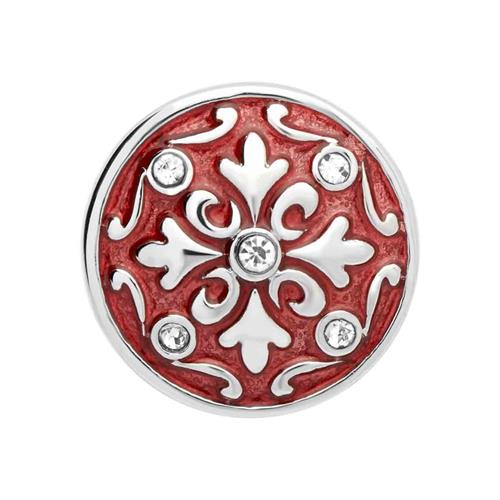 Button rote Emaille Blüte Zirkonia BT0034