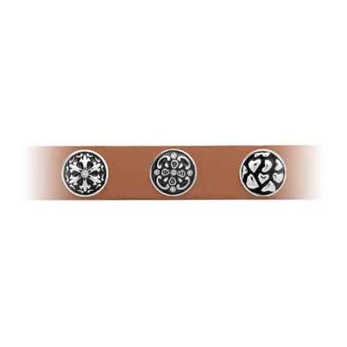 Button graue Emaille Blumenmuster Zirkonia