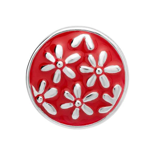 Button Emaille rote-silbernes Blumenmuster