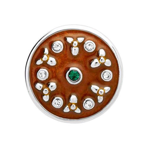 Button braune Emaille weiße grünliche Zirkonia