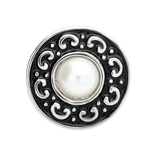 Button schwarze Emaille mit Perle