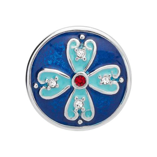 Button türkis-blaue Emaille roter Zirkonia