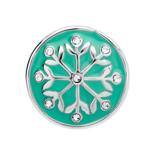 Button grüne Emaille Blumen Zirkonia BT0053