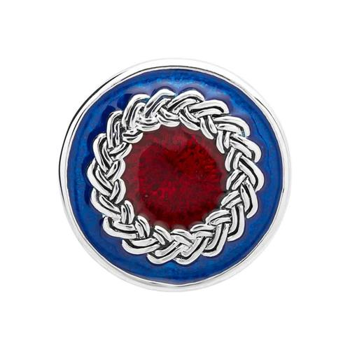 Button blau-rote Emaille verschlungen BT0058