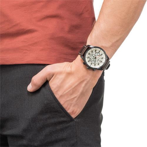 Sports Chrono Uhr Herren Leder braun