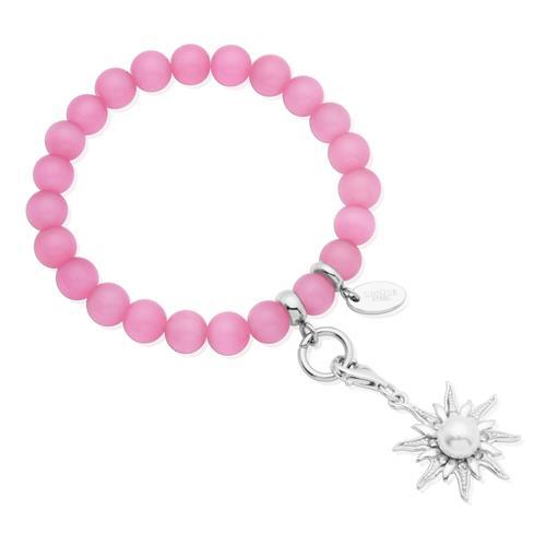 Charm Armband mit Perlen rosa 15,5 bis 19,5cm